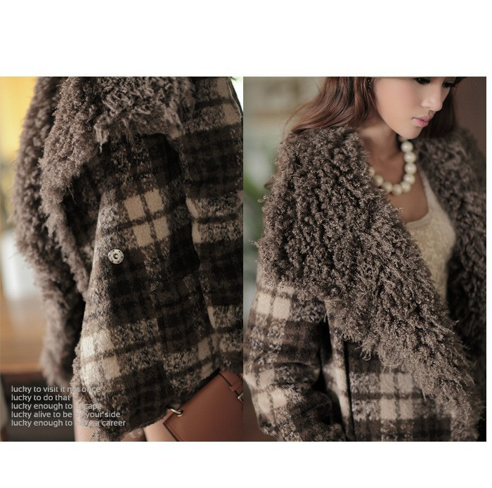 The 2015 winter and spring new womens fashion collar short Plaid Wool Coat Jacket 6893Одежда и ак�е��уары<br><br><br>Aliexpress