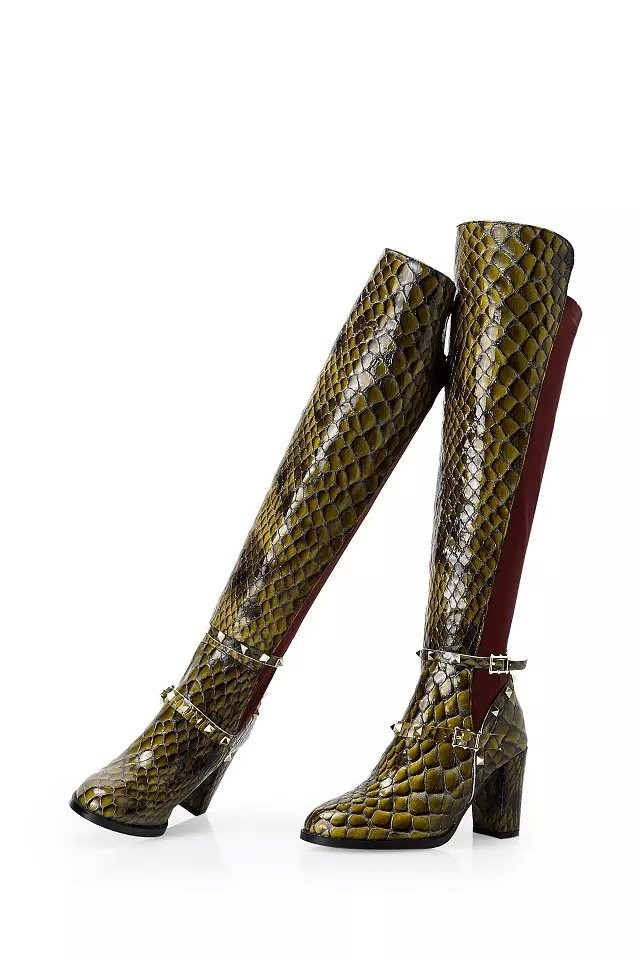 Здесь можно купить  2015 knee high boots quality genuine leather snake stripe elastic fabric boot 8.5cm thick heels boots  Обувь