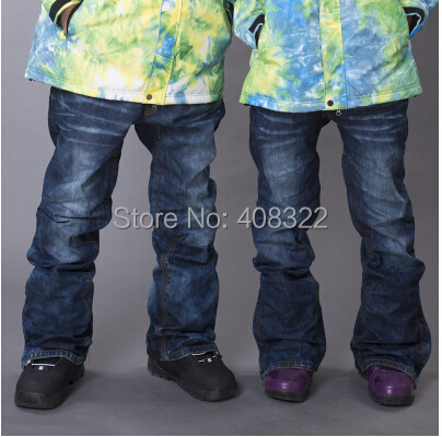 Free shipping,2015 HOT SALE ski pants jeans plus thick for men and women, waterproof 10000 ski pants breathable snowboard pants <br><br>Aliexpress
