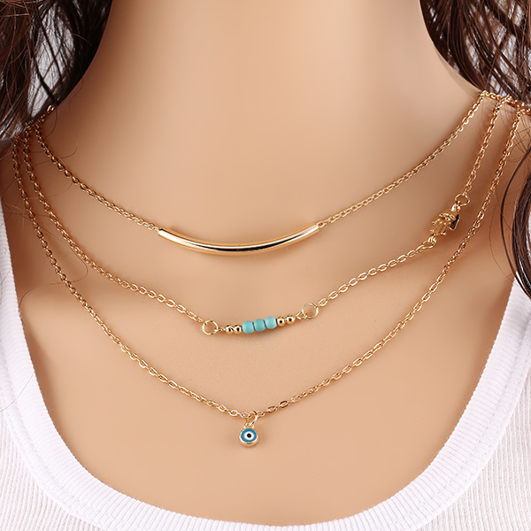 Steampunk Summer Style Boho Body Chain Necklaces Mujer Eye Multilayer Bohemia Bead Double Chain Necklace Fine
