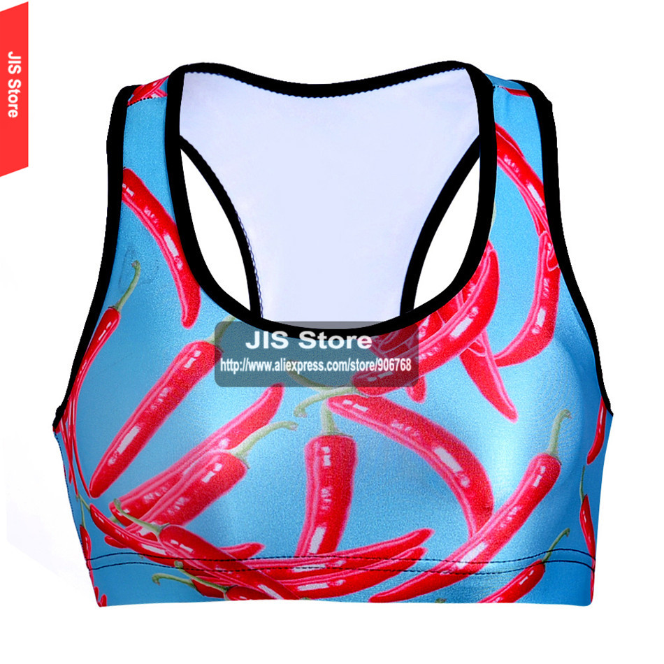 Women Padded Top Athletic Bra Gym Fitness Sports Bra Stretch Workout Bustier Crop Top Sports Red Peppers Digital Printing Bra(Hong Kong)