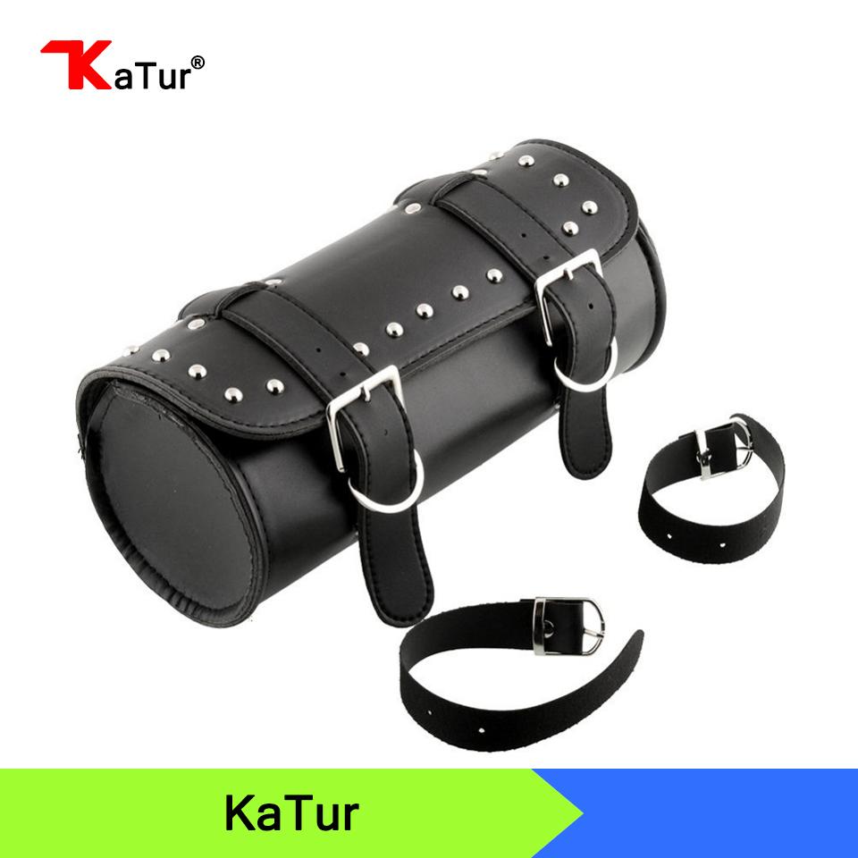 1X Fashion Motorcycle Bag Motorcycle ATV Faux Leather Round Barrel Pouch Bag Tool Cool Auto Accessories Black Leather Bag(China (Mainland))