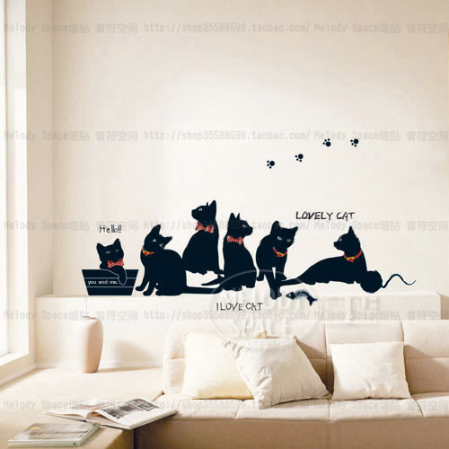 Cat Wallpaper Home Decor : Aliexpress buy vinyl wall stickers wallpaper animal