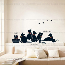 Vinyl wall stickers wallpaper animal cartoon black cat family living room sofa wall decals house decoration poster home decor(China (Mainland))
