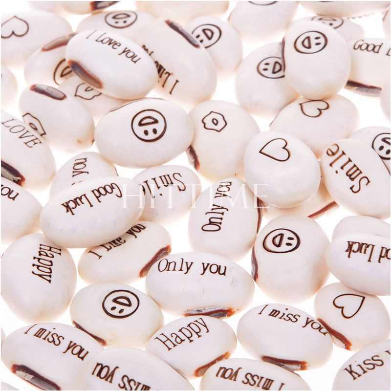 50pcs Mini Magic White Bean Seeds Gift Plant Growing Message Word Love Office Home #57674(China (Mainland))