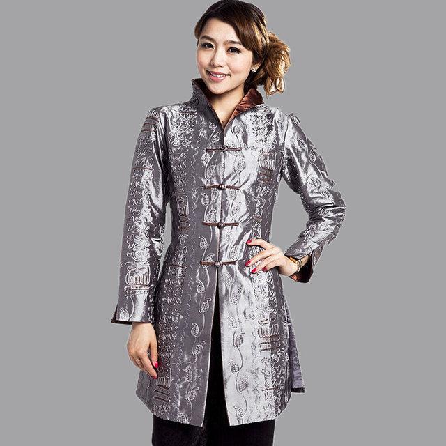Gray Traditional Chinese Стиль Ladies Jacket Mujer Chaqueta Женщины Атлас Embroidery ...