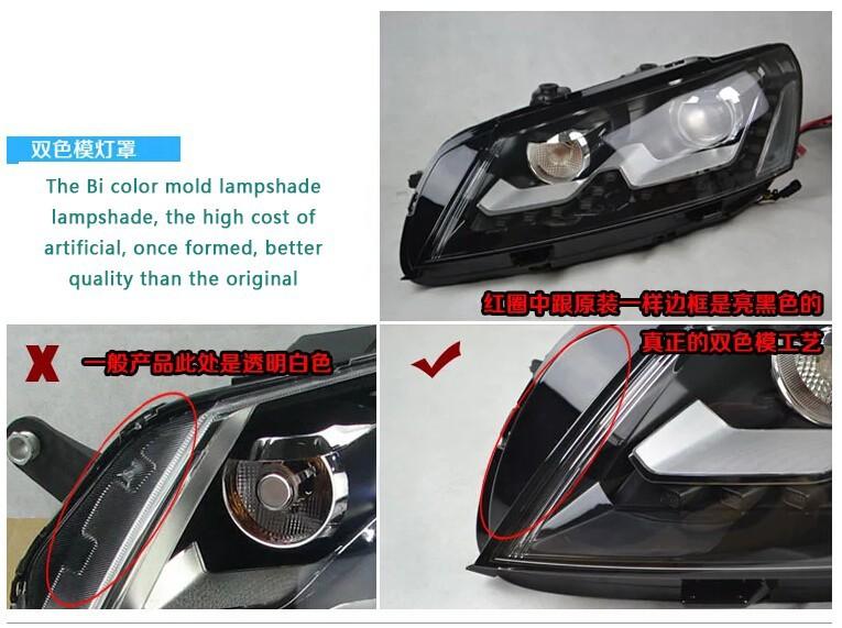 Auto Clud 2011-2015 For vw passat B7 headlights bi xenon lens passat B7 head lamps car styling U LED DRL H7 xenon parking