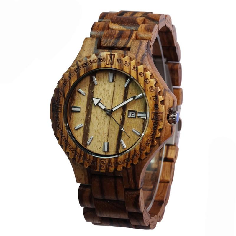 Topwell Деревянный Наручные Часы Дата Дерева Часы Регулируемый Древесины группа Наручные Подарков Зебрового Дерева Часы
