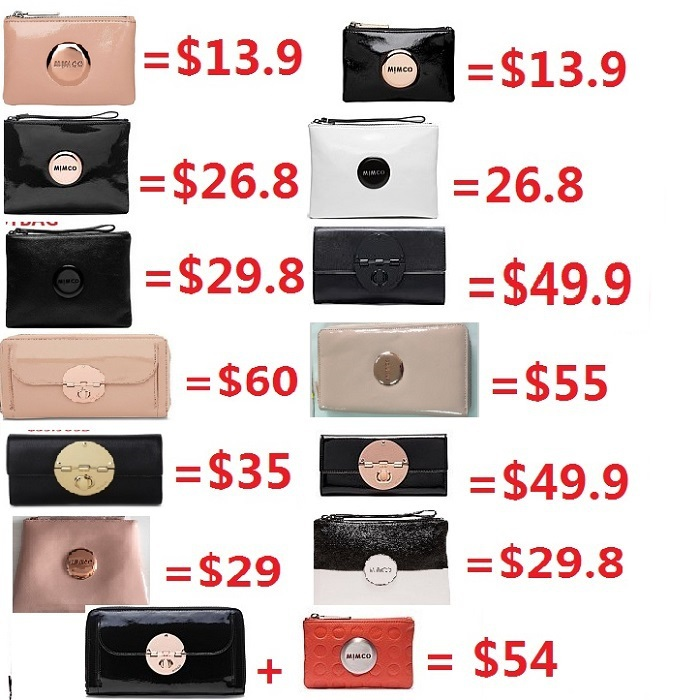 LOWEST PRICE Mimco Medium mim Lovely pouch Patent Black Rose Gold Women Wallet leather IPHONE COVER MATT BLACK TURNLOCK PURSE(China (Mainland))