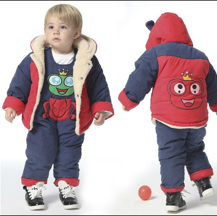 High quality baby clothing fashion baby winter clothes set boys girls Cute thickening Cotton-padded jacket+overalls 2pcs suit