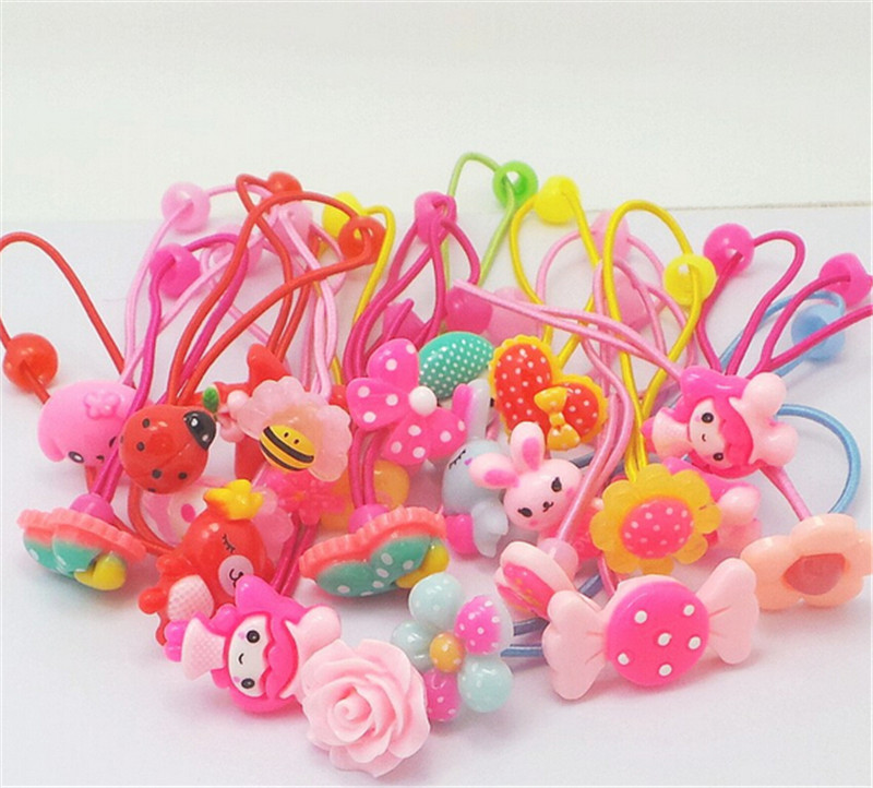 Candy Color Hair Elastic Band Baby Headwear Scrunchy Ponytail Holder Hair Accessories Candy Flower Animal Pattern Hair Ropes(China (Mainland))