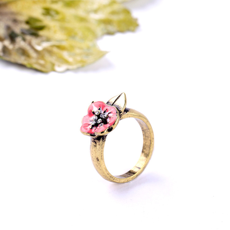 Hot Sale Wholesale All Match Personality New Arrival Retro Atmosphere Drop Glaze Female Flower Ring(China (Mainland))