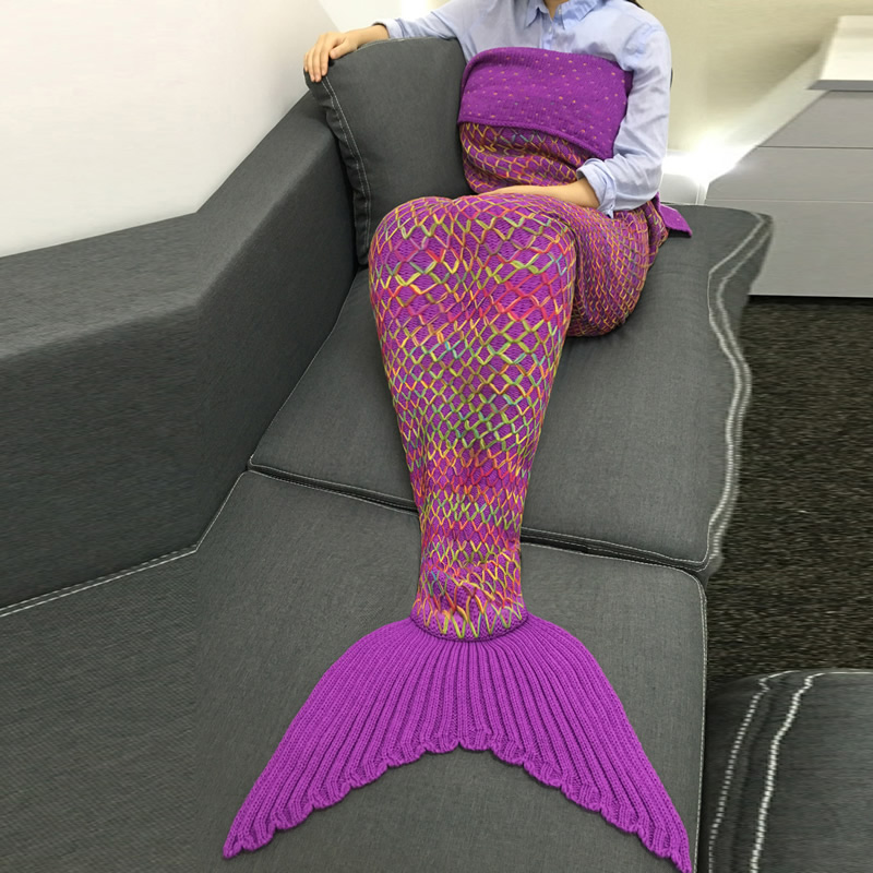 Fashion knitted mermaid tail blanket kids adult Winter Autumn Warm Sofa Sleeping Bag Soft Handmade Crochet Wrap Bedding(China (Mainland))