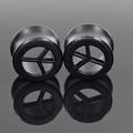 Ear Expanders 1 Pair Black Wood Peace Symbol Pattern Hollow Tunnel Plugs Gauges Ear Expander Body