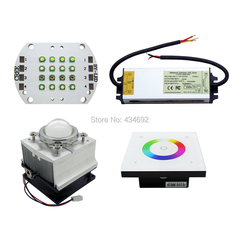 Cree XP-E XPE RGBW Led Emitter Light + RGBW Dimmer D4 + 15V 4A Led Power Supply + 20W-30W Led Heatsink Fans With 45MM Led Lens(China (Mainland))