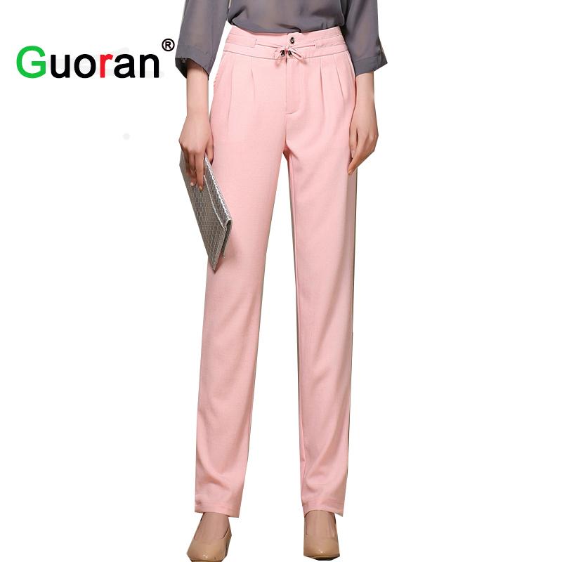 {Guoran} Newest Linen Cotton Pants Long Women Plus Size Female Black White Formal Office Work ...