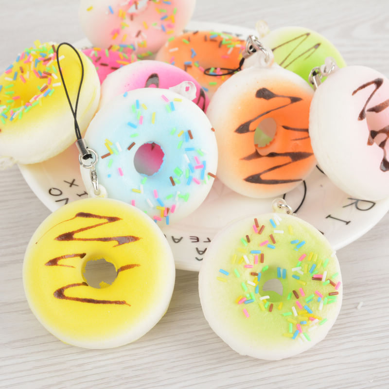 Wholesale 5cm Cute Soft Squishy Jumbo Mini Donut Charming Phone Strap Simulation Food Cell Phone Strap Decor Random Color(China (Mainland))