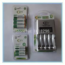 High quality rechargeable battery BTY boxed 4pcs AA 3000mAh + 4pcs AAA 1350mAh + LCD Charger
