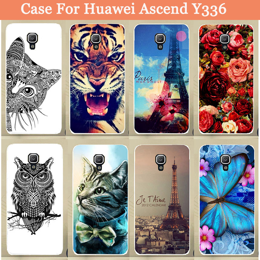 For Huawei Y3 Y3C Y336 case Back phone cover Huawei Y336 Cat Lion Rose Painted case For Huawei Ascend Y336 Phone Back Cover(China (Mainland))