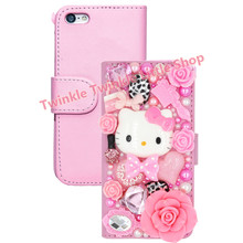 Supper Cute 3D Bling Crystal Hello Kitty Flip Wallet Leather Case For iphone 6 6S 4.7'' For iphone 6 plus 5.5'' Phone Cases(China (Mainland))