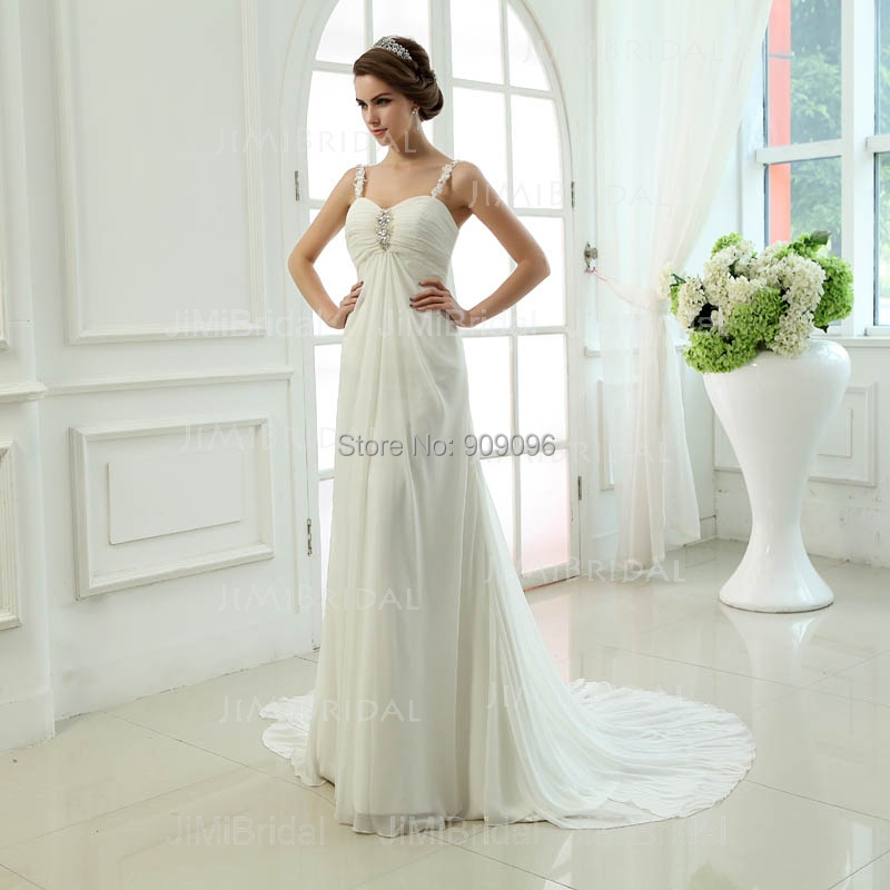 Buy real sample lace appliqued ruched for Empire waist beach wedding dress