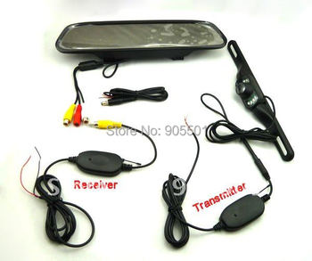 """2.4G Wireless Car RearView Camera kit 4.3"""" Mirror monitor+ black up camera parking assistance Wireless Rearview kits"""
