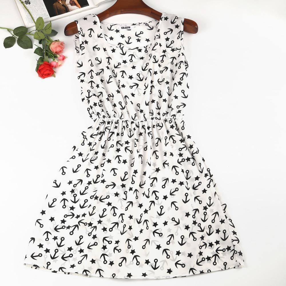 CDJLFH 20 Colors Brand stars Fashion Women Sleeveless Florals Print Round Neck Dress 2017 Saias Femininas Summer Clothing Dresse(China (Mainland))