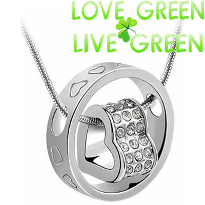 Free Shipping Bag Wholesale Czech drilling 10 Colors 18 k gold Plated circle round Heart pendant
