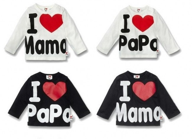 EMS DHL baby boys girls long sleeve love mama papa White black t Shirt top kids tee 4 design 2