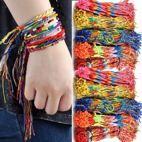 Mixed colors 50pcs Wholesale jewelry Braid Friendship Cords Strands Bracelets<br><br>Aliexpress