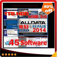 HOT!!! 2015 new arrive Auto Repair Software Alldata 10.53+Mitchell 2014 + auto parts catalogueetc 45 in1 with 1TB New Hard Disk