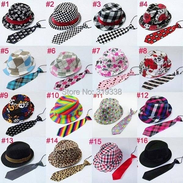Kids Trilby Jazz cap with necktie Baby fedora hats with neck tie set Children acting cap Top hat dicer Gangster hat 12set BH230Одежда и ак�е��уары<br><br><br>Aliexpress