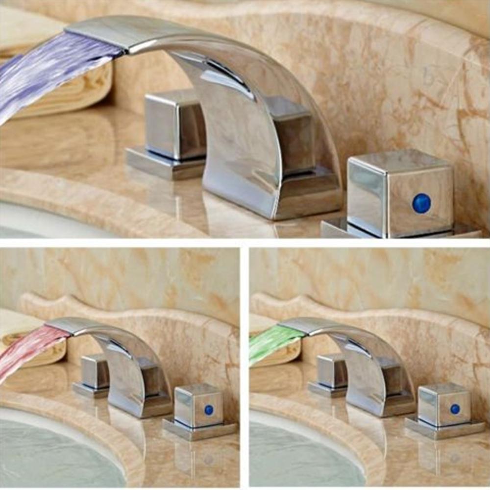 Modern Square Waterfall Bathroom Basin Faucet LED Sink Mixer Tap Dual Handle Tap(China (Mainland))