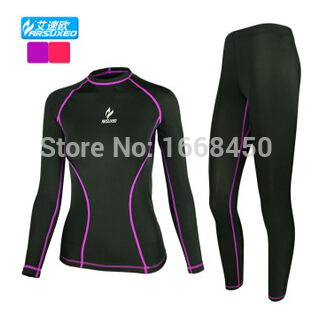 ARSUXEO Women Gym Fitness Running Cycling Sports Jersey Compression Base Layers Quick Dry Long Sleeve Tights Tops + Pants Sets