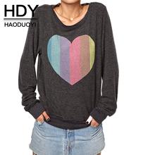 HDY Haoduoyi 2017 Fashion Autumn Women Multicolor Loose Heart Print Casual Hoodies O-neck Long Sleeve Pullover Sweatshirt(China (Mainland))