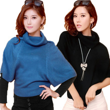 2016 Winter new Korean Slim hedging bat sleeve sweater ladies high collar knit jacket scalp(China (Mainland))