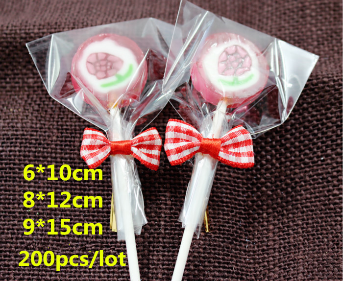200pcs/lot Samll Plastic bags 3size Clear Cellophane Cake Pop Bags Lollipop Bakery Gift Cookie Packaging Packing Free shipping(China (Mainland))