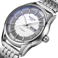 Kassaw Swiss Mens Double Calendar Analog Automatic Mechanical Cutout Waterproof Luxury Steel Wristwatch