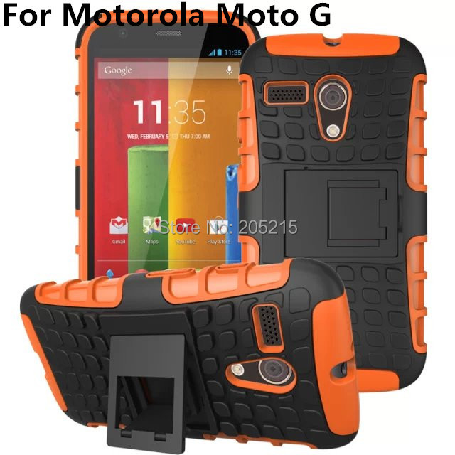 50 pcs/lot TPU+PC Robot 2 in 1 KickStand Case Hybrid Shock Cover Case For MOTOROLA MOTO G XT1032 with stand Free shipping(China (Mainland))