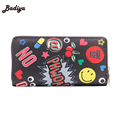 Zipper Design Clutch Purse Graffiti Letter Printing Cute Women Wallet For Woman Ladies Phone Holder Card