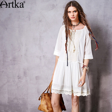 Buy Artka Women's Autumn New Vintage Boho Loose Style Embroidery Patchwork Half Sleeve Casual All-mach Dress LA10760C for $45.05 in AliExpress store
