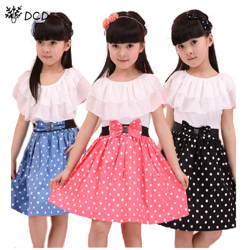 girls dresses Baby Kids Children's Lovely princess Splicing Polka Dots Dress,knit chiffon dress girl party,elegant - Sky Trade Co., Ltd. store