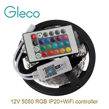 DC12V 5050 RGB LED Strip Set 60LED/m 5M LED Strip 5050 RGB LED tape + Mini 24Key WiFi RGB LED Controller(China (Mainland))