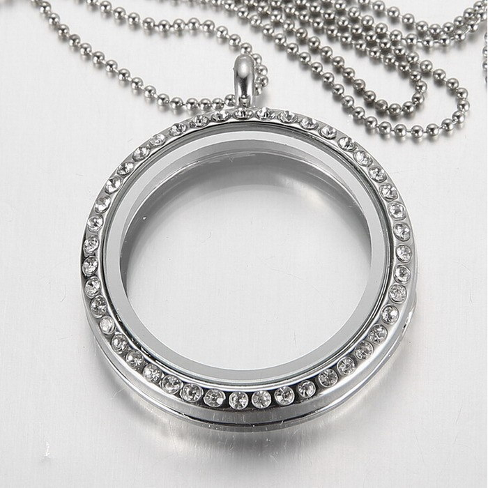 (Free Chains) New Fashion Round Crystal Pendant Silver Rhinestone Floating locket Memory Living glass Locket Necklace for women(China (Mainland))