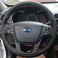 Hand stitched Black Leather Steering Wheel Cover for Kia Sorento 2009 2014