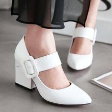 Туфли на высоком каблуке платформы весна женщины туфли на высоком каблуке обувь женская NewBig SIZE34 43 квадратный каблук лакированной кожи мэри джейн острым носом офис карьера