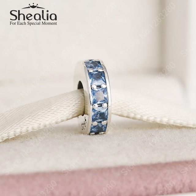 2015 зима новый вечность прокладка очарование бусины с голубой кристалл проложить прокладки серебро 925 изящные ювелирные DIY аксессуары