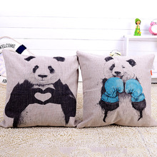 Free shipping New 2015 modern minimalist panda series of Linen pillow covers cushion covers Home decorations