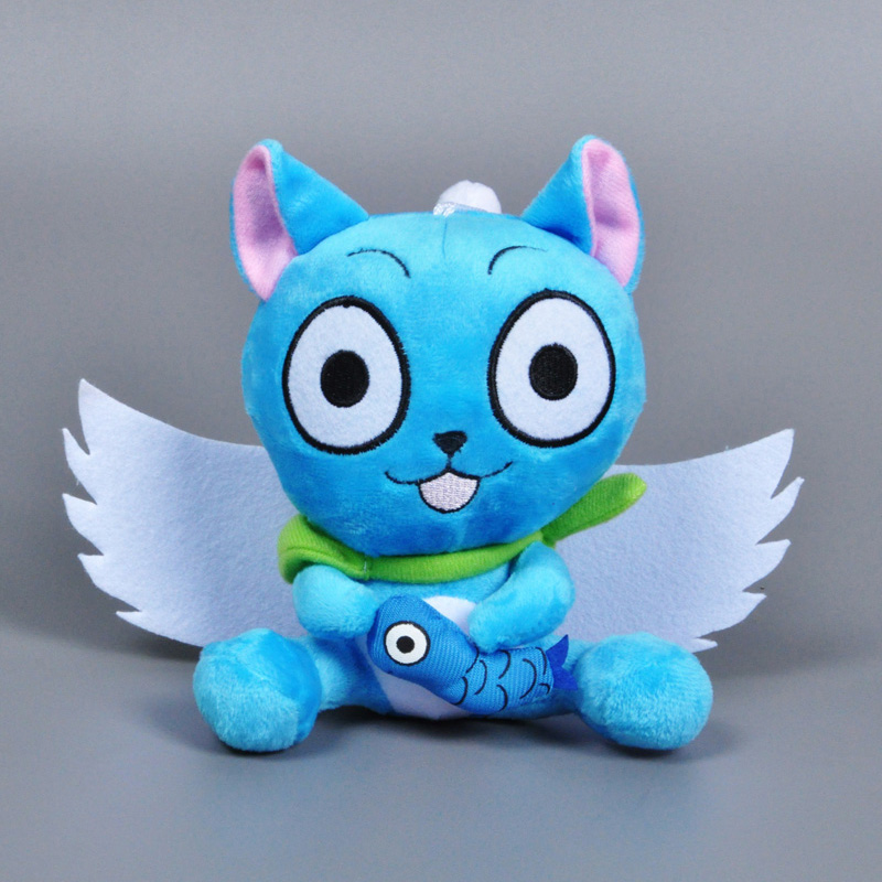 Fairy Tail Happy Cat With Fish plush toy 25cm Japanese Anime cosplay Fairy Tail Habib hold fish stuffed doll toy 5pcs/lot(China (Mainland))