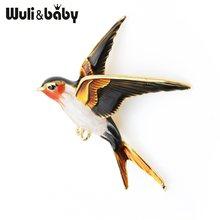 Wuli & Baby Dello Smalto di Volo Rondine Spilla Spilli Per Le Donne Animale Uccello Broche Gioielli Regalo(China)